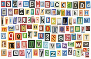 Alphabet letters representing website fonts