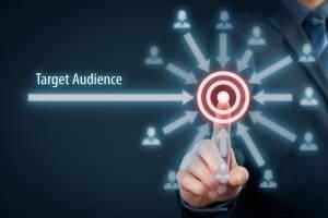 Person selecting target audience representing customer