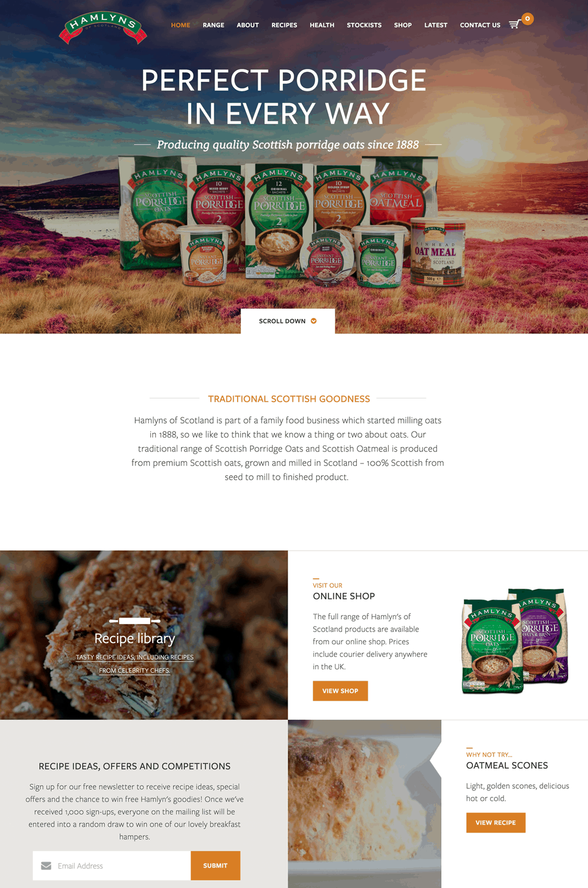 Hamlyns Oats - User Experience Design | Responsive Design | Content Strategy | Illustration
