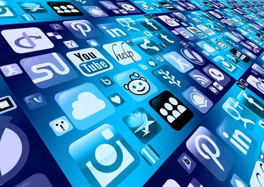 Icons representing social media for business