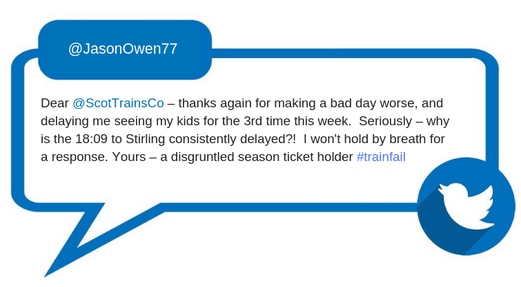 From: @JasonOwen77 Dear @ScotTrainsCo – thanks again for making a bad day worse, and delaying me seeing my kids for the 3rd time this week. Seriously – why is the 18:09 to Stirling consistently delayed?! I won't hold by breath for a response. Yours – a disgruntled season ticket holder #trainfail