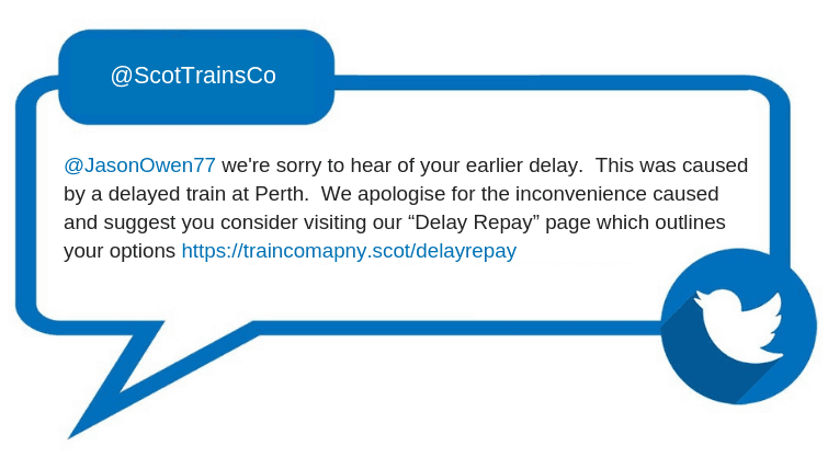 "From: @ScotTrainsCo @JasonOwen77 we're sorry to hear of your earlier delay. This was caused by a delayed train at Perth. We apologise for the inconvenience caused and suggest you consider visiting our ""Delay Repay"" page which outlines your options https://traincomapny.scot/delayrepay"