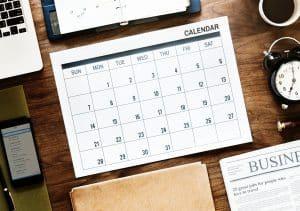 Calendar representing 2019 social media calendar