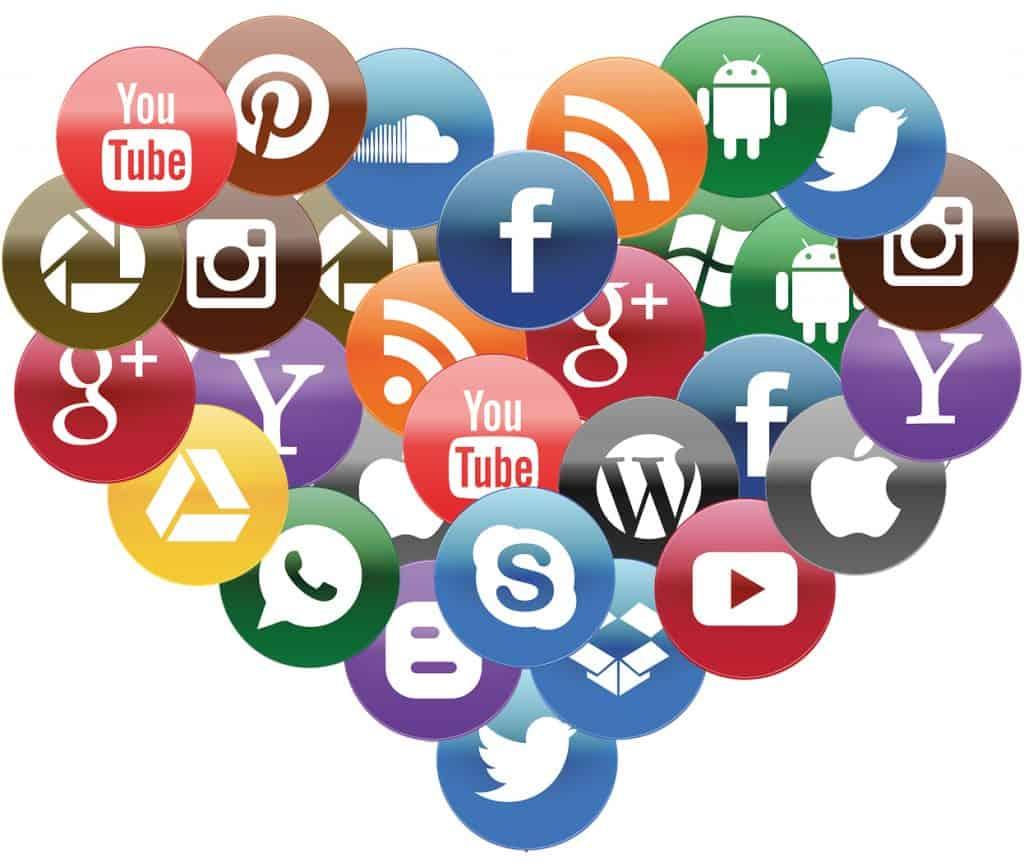 Social media icon heart representing valentines day on social media
