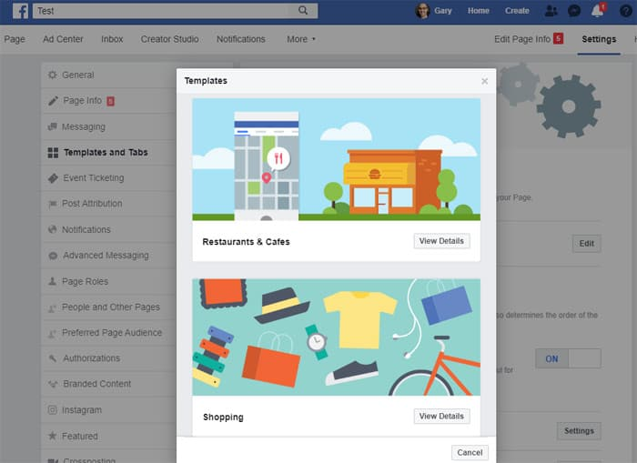 Facebook Business Page - choose a template