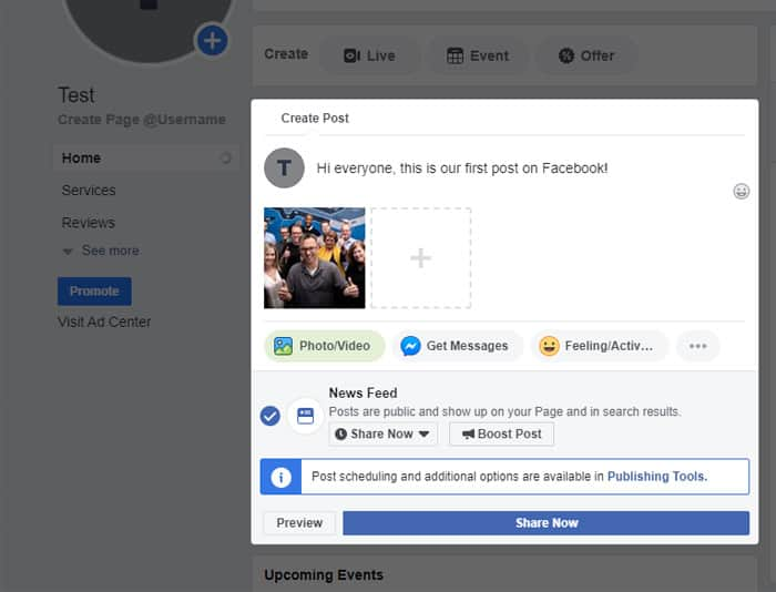 Facebook Page - posting content